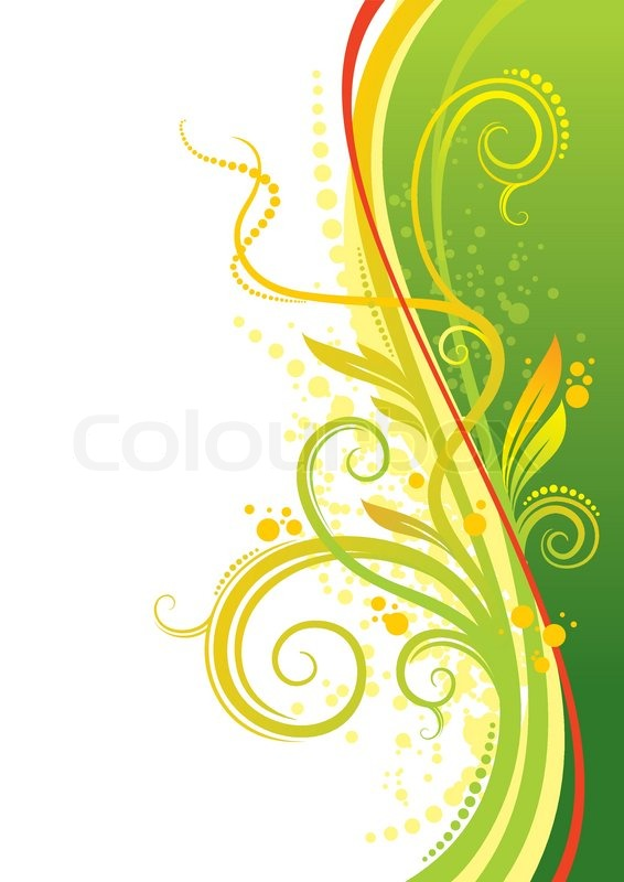 yellowgreen design with waves amp leaves stock vector