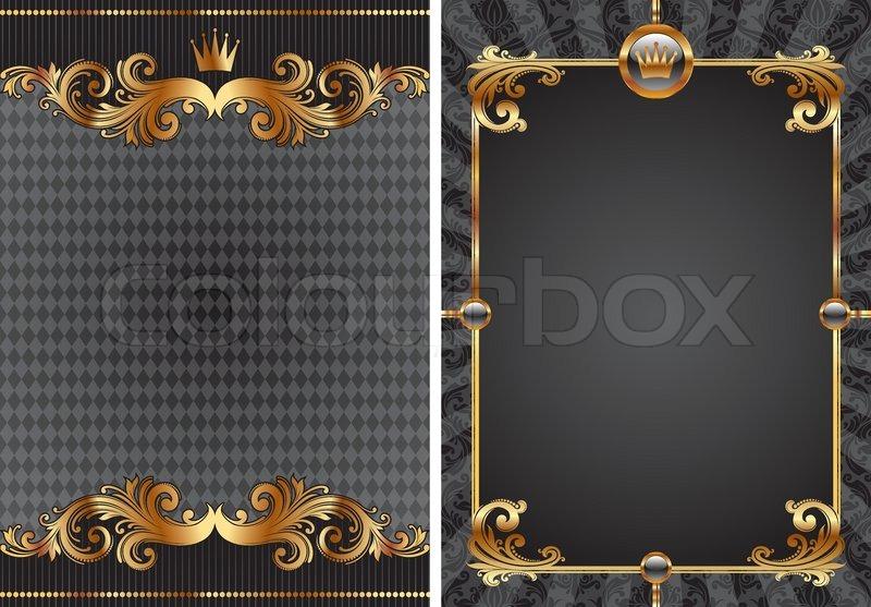 vector reihe von gold schwarz luxus dekorativen hintergrund vektorgrafik colourbox. Black Bedroom Furniture Sets. Home Design Ideas
