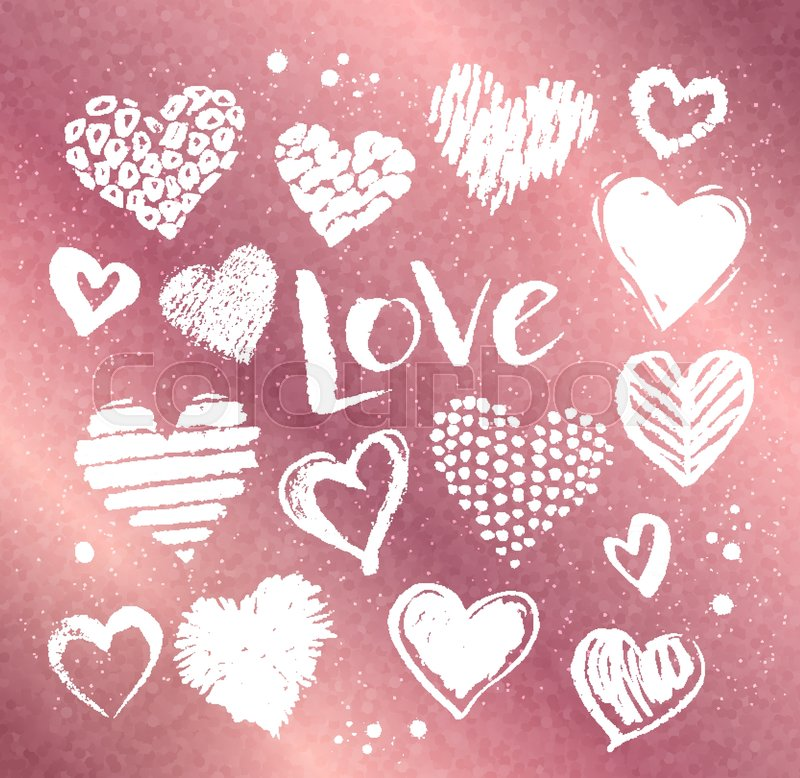 vector collections of white grunge valentine hearts with love word