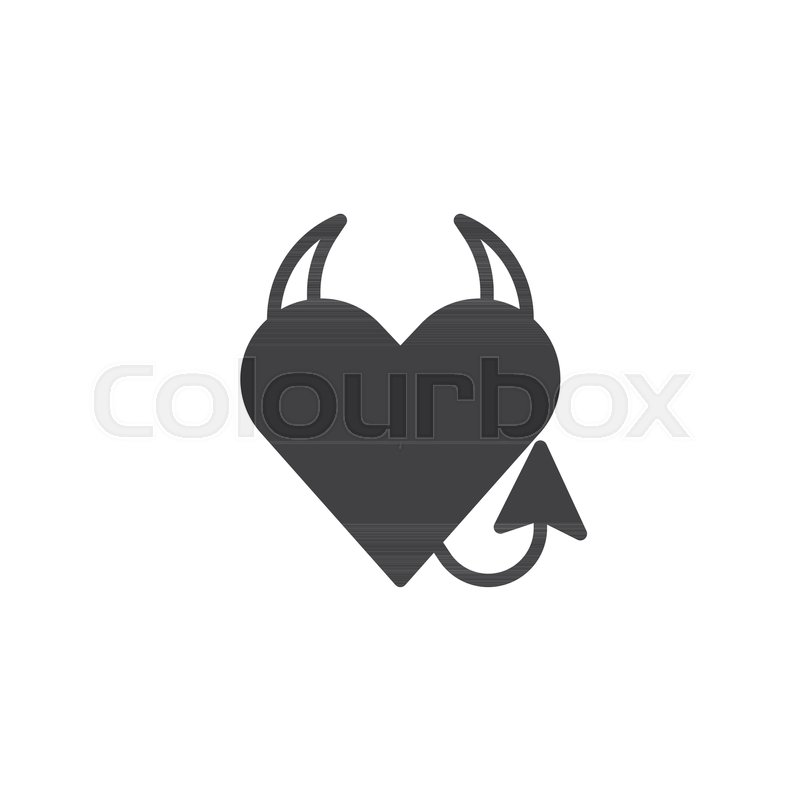 Devil Heart Icon Vector Filled Flat Sign Solid Pictogram Isolated