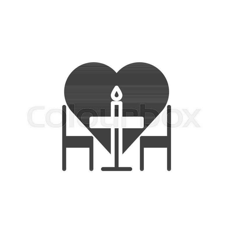 Romantic Dinner Icon Vector Filled Flat Sign Solid Pictogram