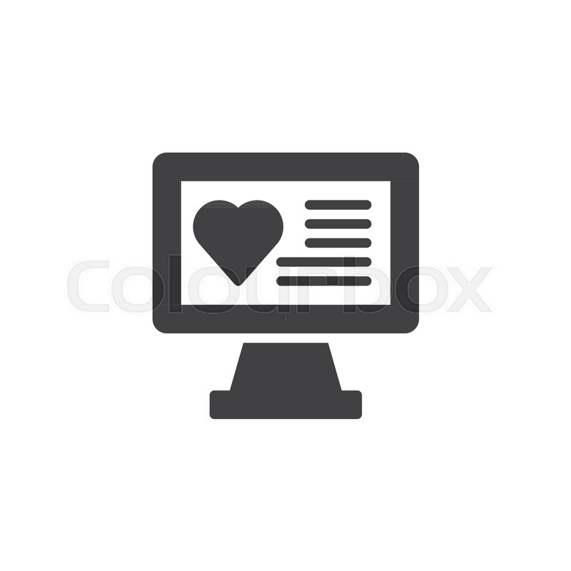 Computer Monitor With Heart Text On Screen Icon Vector Filled Flat