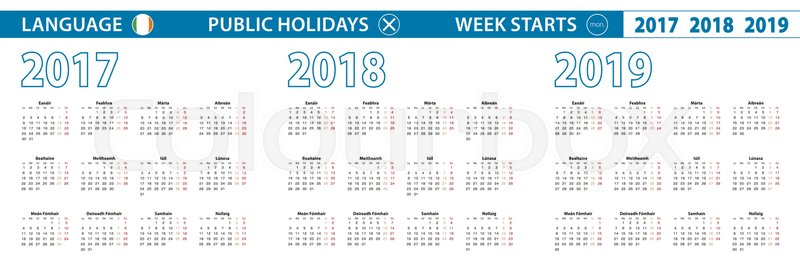 simple calendar template in irish for 2017 2018 2019 years week starts from monday vector