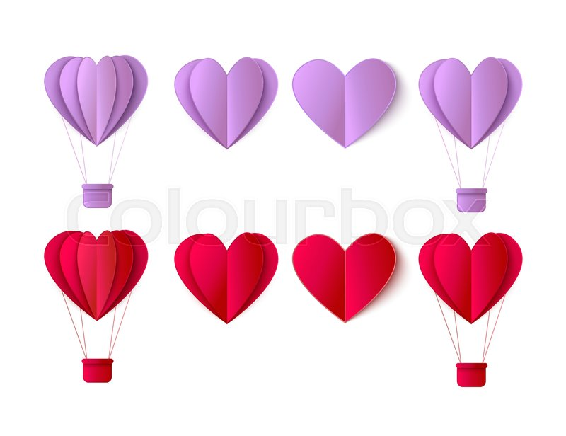 Vector Happy Valentines Day Origami Paper Red Hearts Hot Air