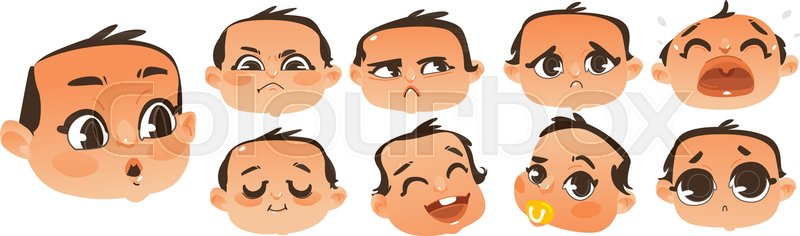 set of expressive comic style baby heads showing various emotions