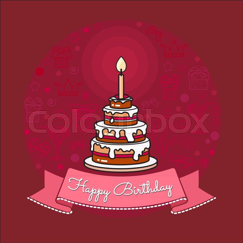Vector Happy Birthday Card Big Cake
