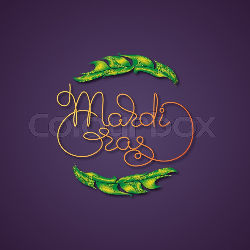 Mardi gras vector greeting card with feather and handwritten word mardi gras vector greeting card with feather and handwritten word mardi gras on a dark violet background traditional festive pattern m4hsunfo