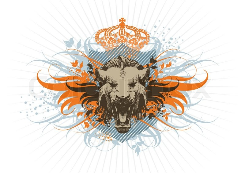 shield crown and lion stock vector colourbox