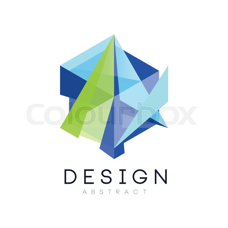 Geometric logo template. Creative icon in gradient blue and green ...