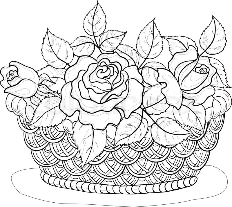 How To Draw A Flower Basket With Flowers : Vector wattled basket with flowers roses and leaves