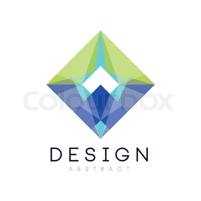 Colorful geometric logo template abstract diamond shaped icon in abstract diamond shaped icon in gradient blue and green colors vector illustration isolated on white background design for mobile app business company or colourmoves
