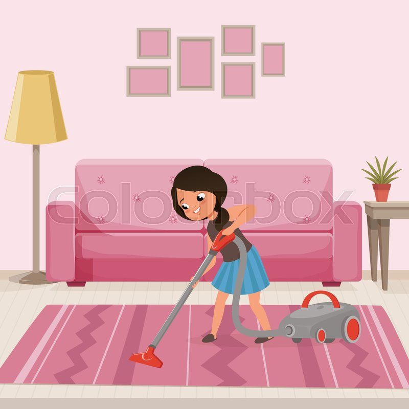 Cheerful teen girl cleaning carpet with vacuum cleaner at living ...