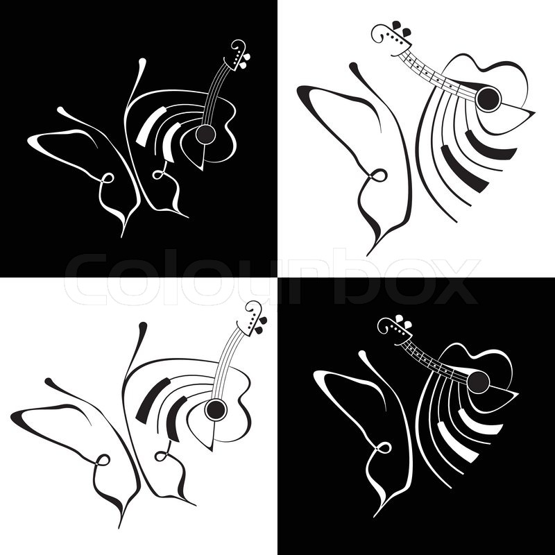 Music and butterfly abstract vector lineart black and white illustration fine art stock vector colourbox