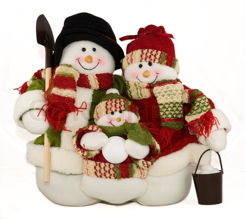 christmas decoration snowman family toy stock photo