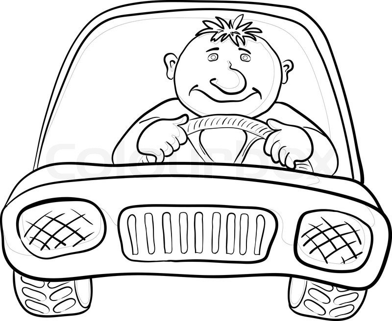 Cartoon, car with a man driver, contours on white Vector | Stock ...
