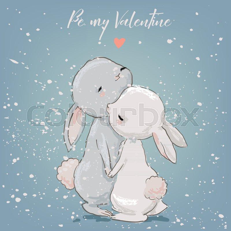 Download Cute Cartoon Hares Couple Kissing Stock Vector Colourbox