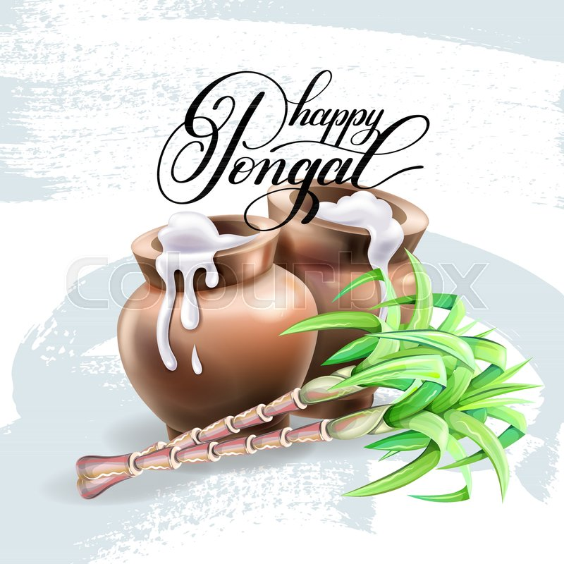 Happy pongal greeting card design to south indian harvest festival happy pongal greeting card design to south indian harvest festival vector illustration stock vector colourbox m4hsunfo