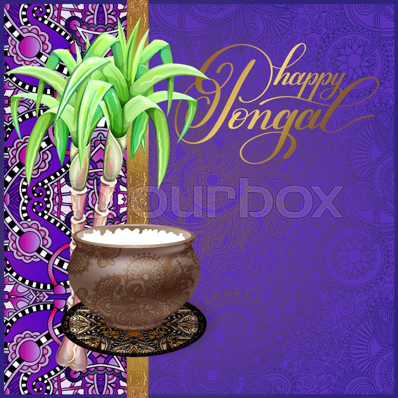 Happy pongal greeting card to south indian harvest festival vector happy pongal greeting card to south indian harvest festival vector illustration stock vector colourbox m4hsunfo