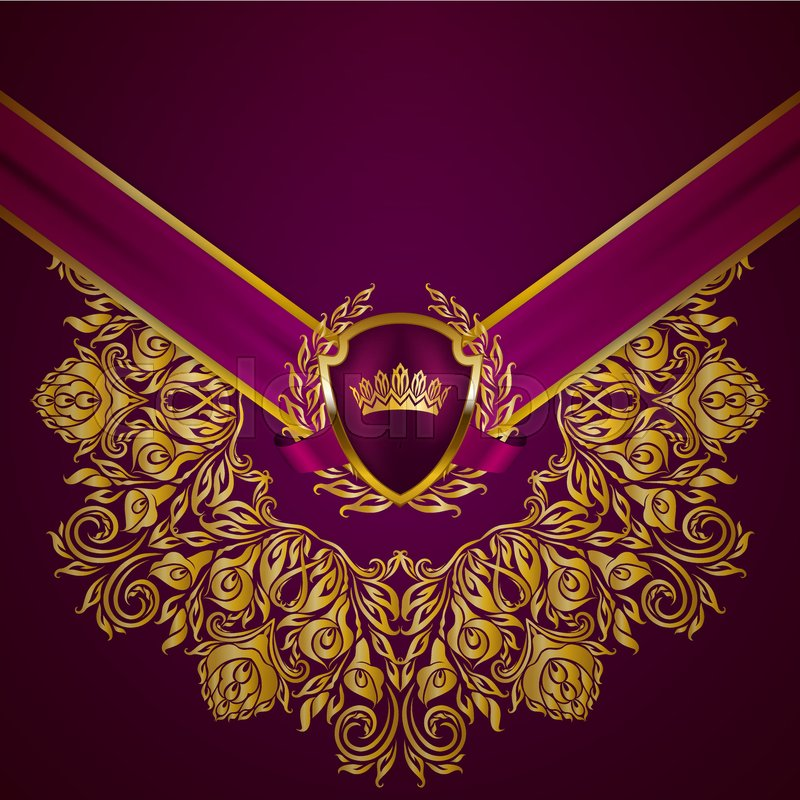 Royal Background With Ornament Shield Gold Crown Ribbon