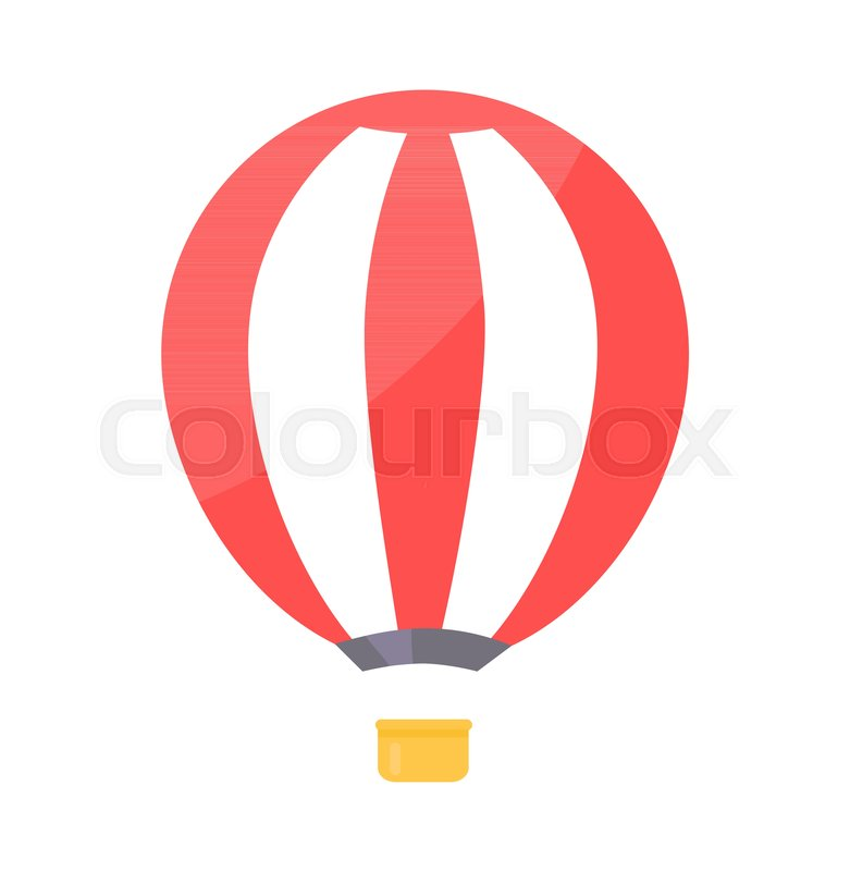 Striped Airballoon With Basket Vector Illustration Isolated On White