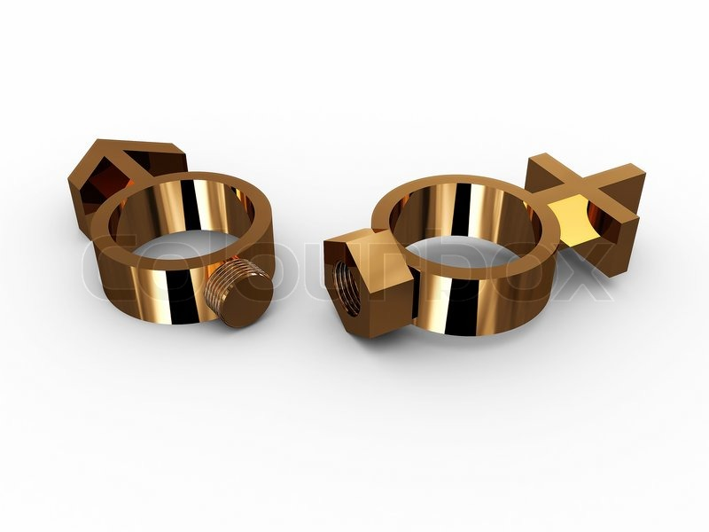 Rings With A Bolt And Nut And Gender Stock Photo Colourbox