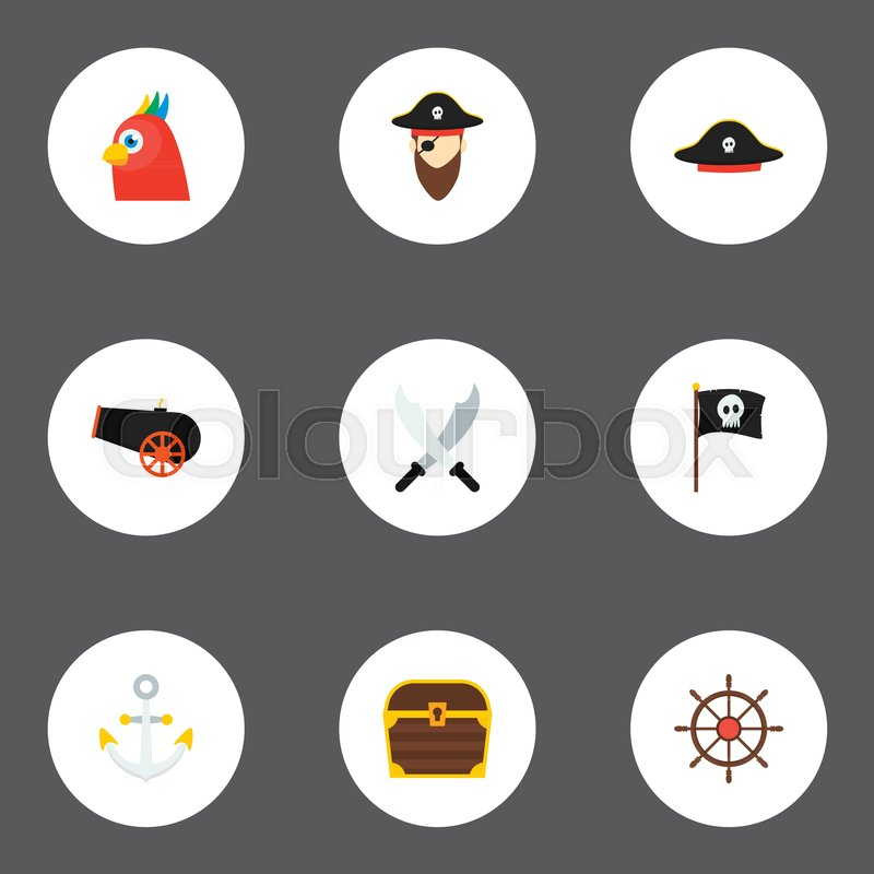 Icons Flat Style Anchor Black Mark Pirate And Other Vector