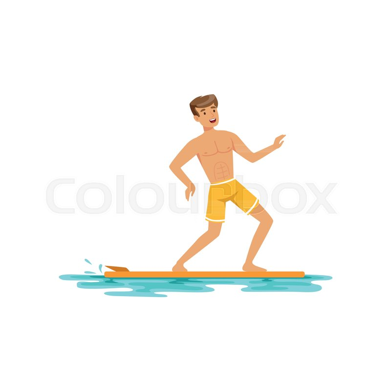 Smiling man surfing on the ocean, water extreme sport, summer vacation vector Illustration on a white background, vector