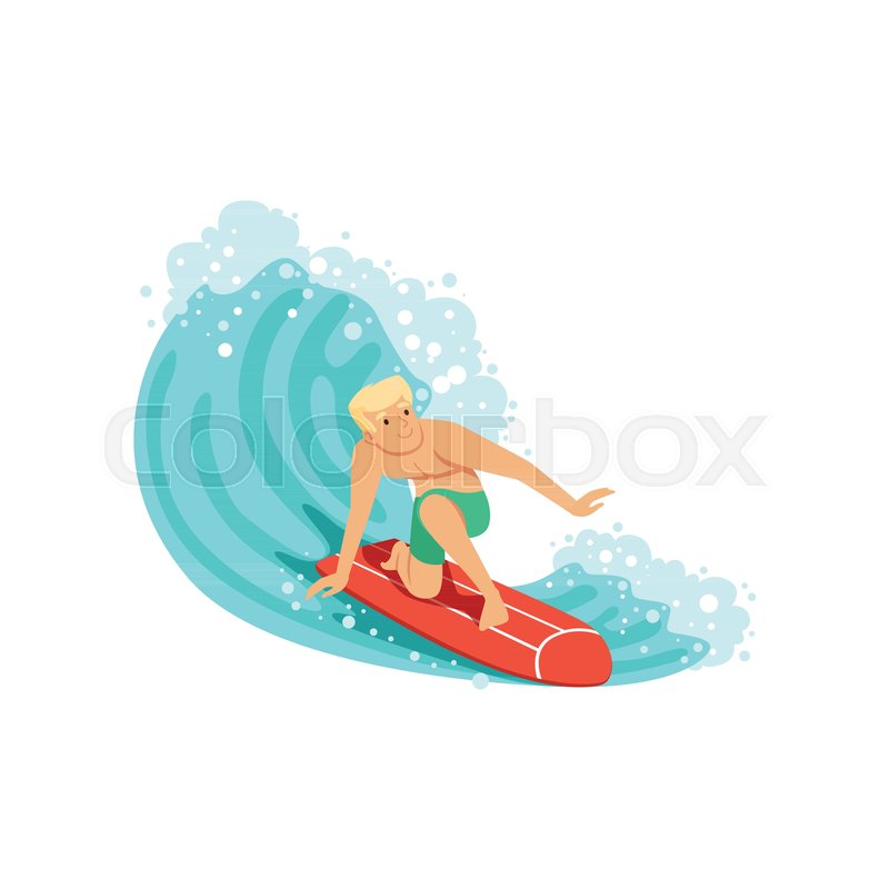 Cheerful man surfing on the ocean wave, water extreme sport, summer vacation vector Illustration on a white background, vector
