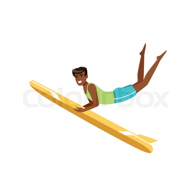 Happy african american man surfing, water extreme sport, summer vacation vector Illustration on a white background, vector