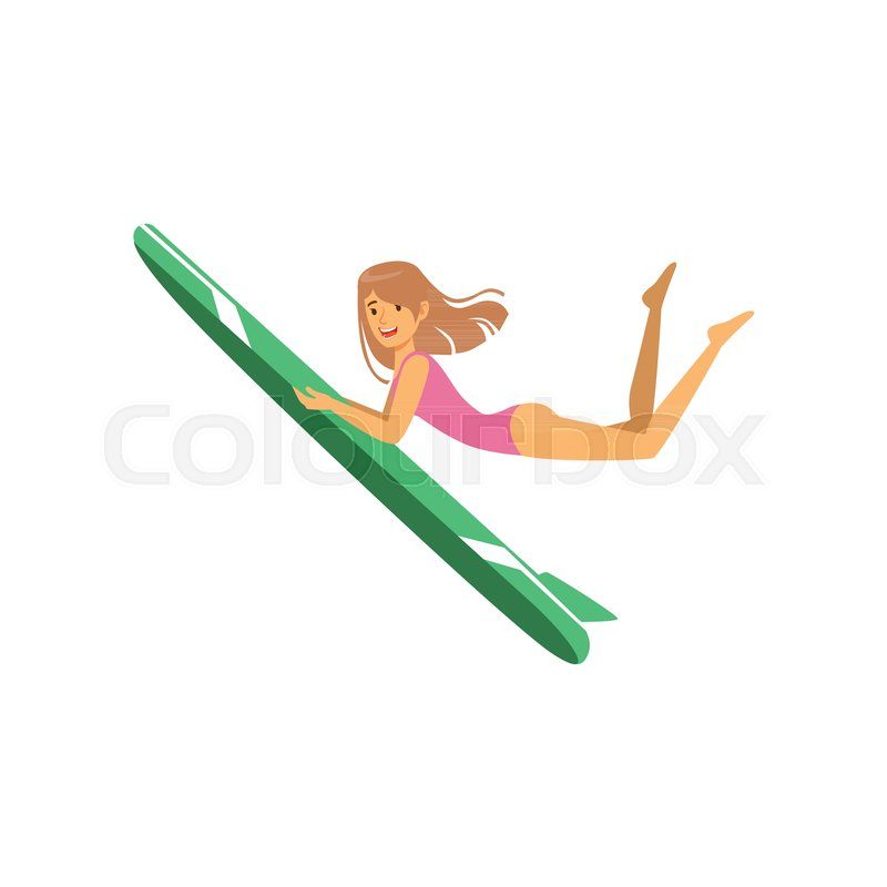 Beautiful girl with surfboard surfing, water extreme sport, summer vacation vector Illustration on a white background, vector