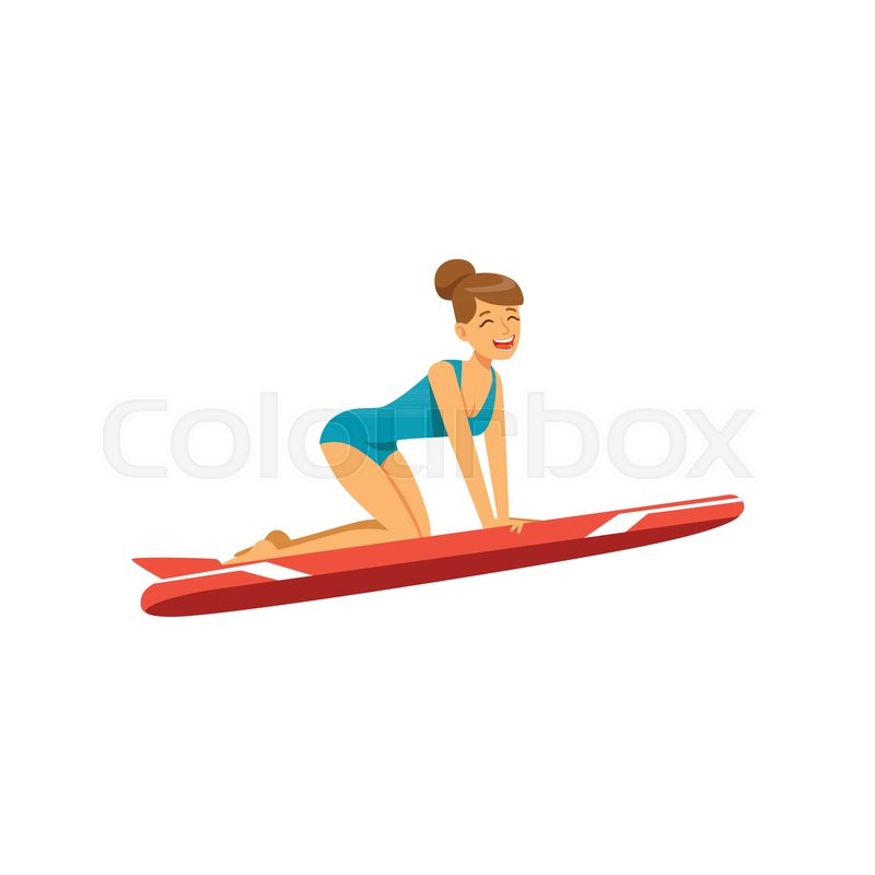 Beautiful girl in blue swimsuit with red surfboard surfing, water extreme sport, summer vacation vector Illustration on a white background, vector