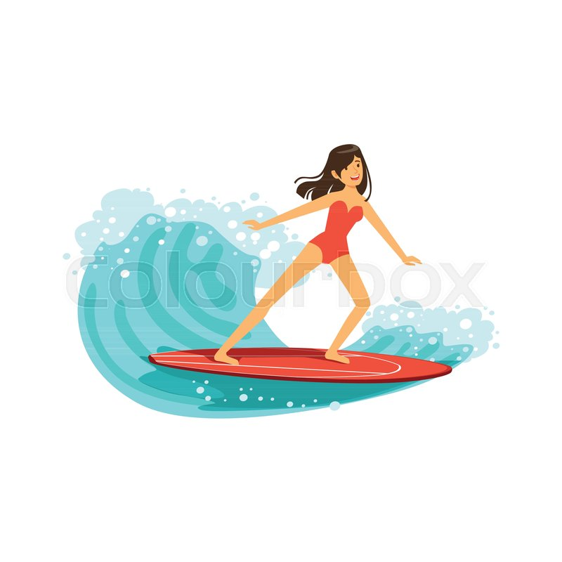 Beautiful brunette girl in red swimsuit surfing on the ocean wave, water extreme sport, summer vacation vector Illustration on a white background, vector