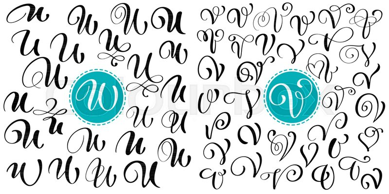 set of hand drawn vector calligraphy letter u v script font