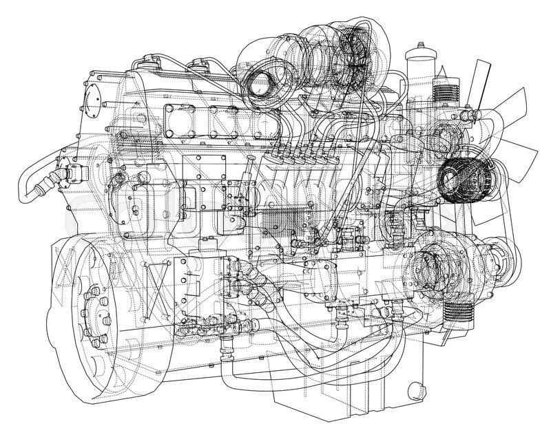 Car engine. Vector EPS10 format, rendering of 3d | Stock Vector ...