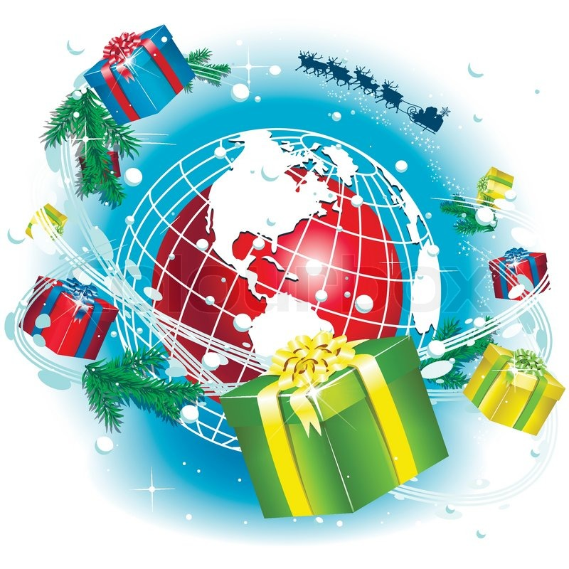 Illustration santa claus and gifts around the globe