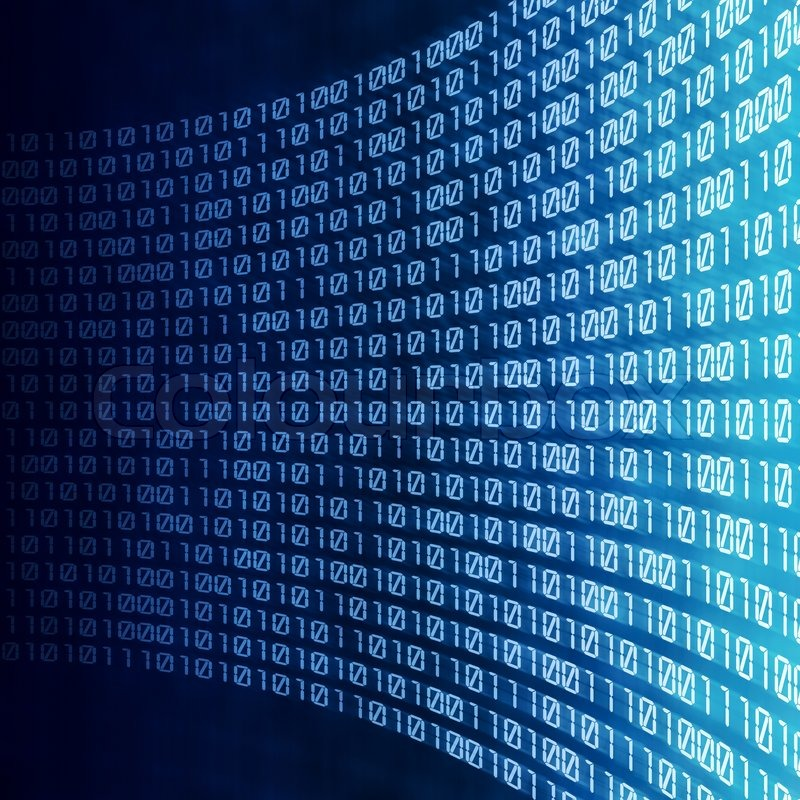 Abstract Binary Code On Blue Digital Screen Stock Photo