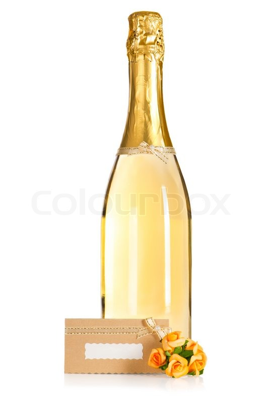 Bottle of champagne with wedding flower decoration and ...