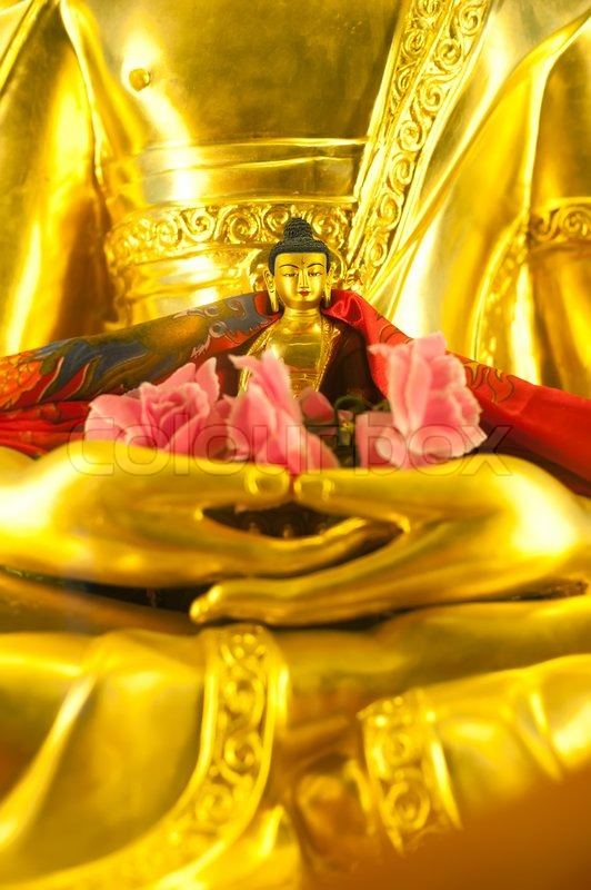Stock image of 'Golden Buddha sculpture in Tibetan Monastery'