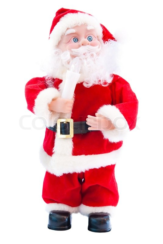 Toys From Santa : Toy santa claus isolated on a white background stock