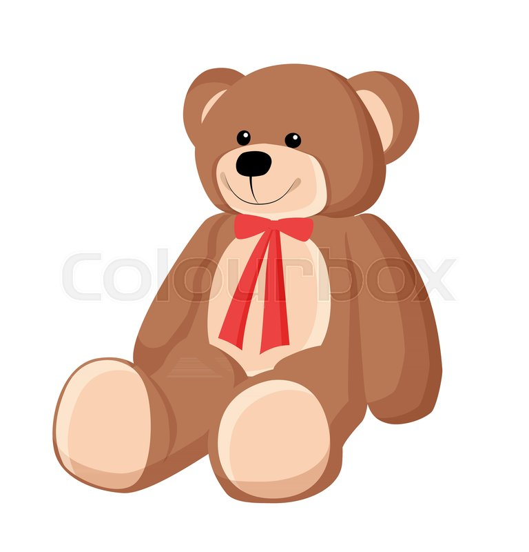 Teddy Bear With Red Ribbon Placed On Neck Poster Smiling Fluffy Toy Of Brown Color Present For Kids Vector Illustration Isolated White