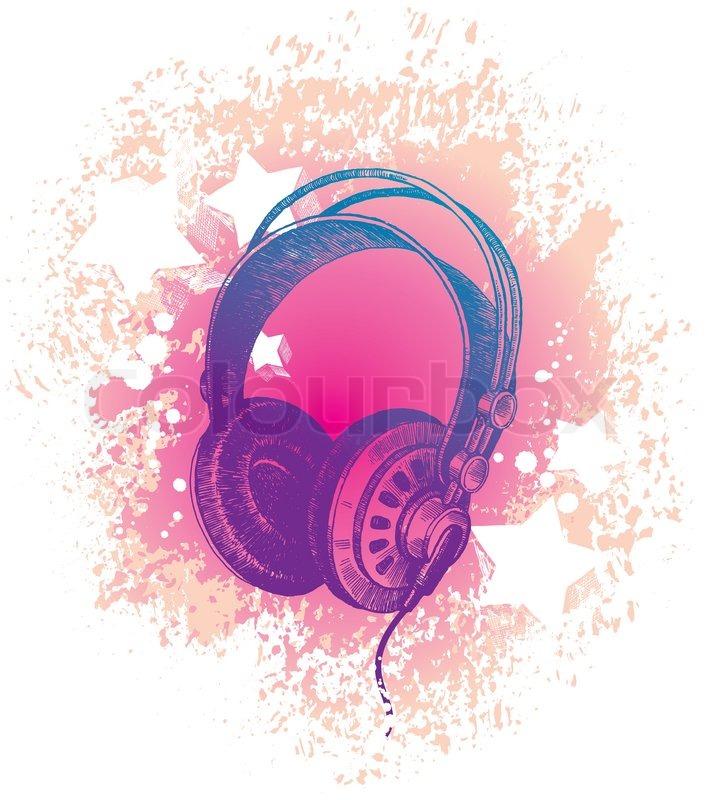 Stock vector of 'Vector hand drawn dj's headphones'