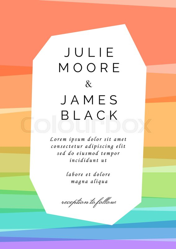 Colorful Wedding Invitation template. Overlay of rainbow colors ...