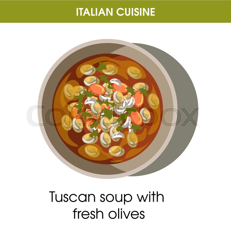 Italian cuisine Tuscan soup with olives traditional dish food icon ...