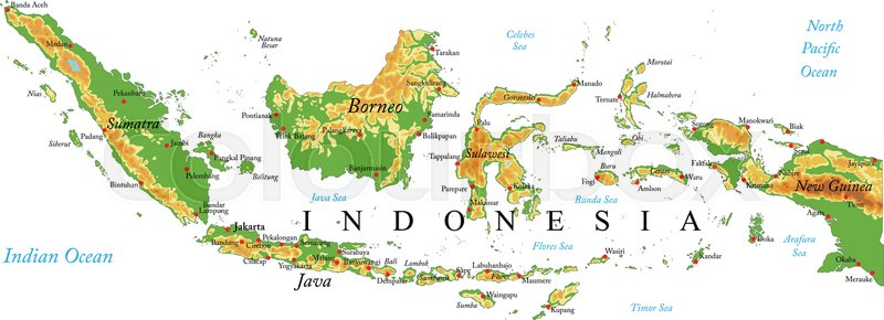 Highly detailed physical map of Indonesiain vector formatwith all