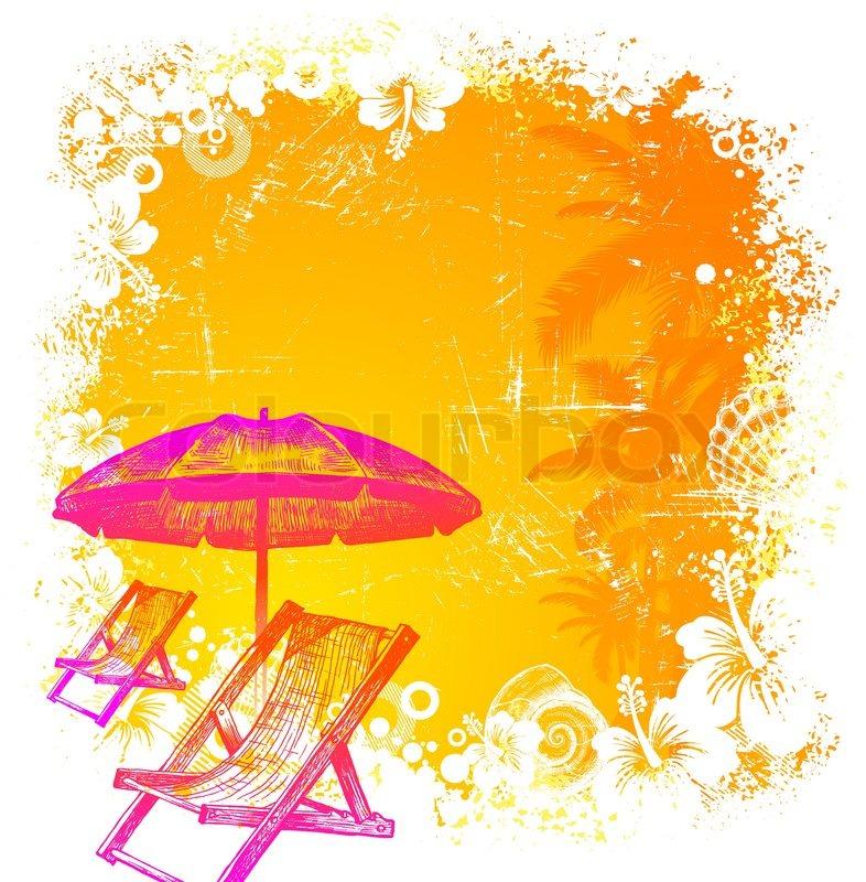 Strandkorb gezeichnet  Hand gezeichnet Strandkorb und Sonnenschirm auf einem tropischen ...