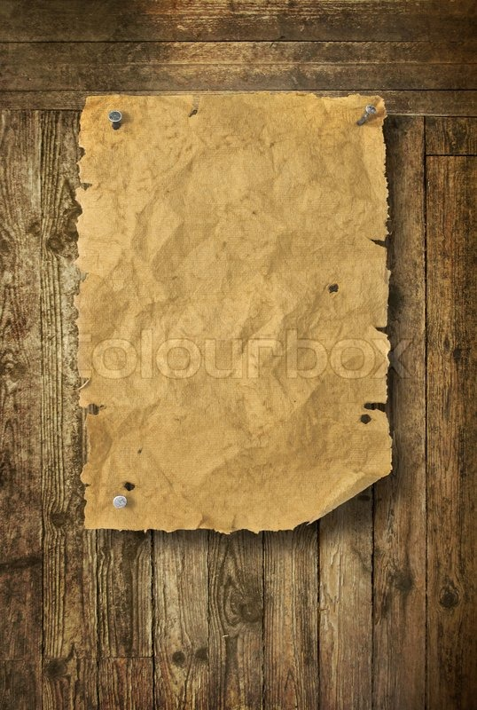 Empty Wild West Wanted Poster On Old Wooden Wall Stock