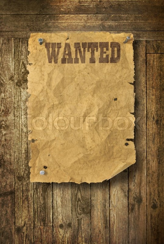 Empty Wild West wanted poster on old wooden wall | Stock Photo ...