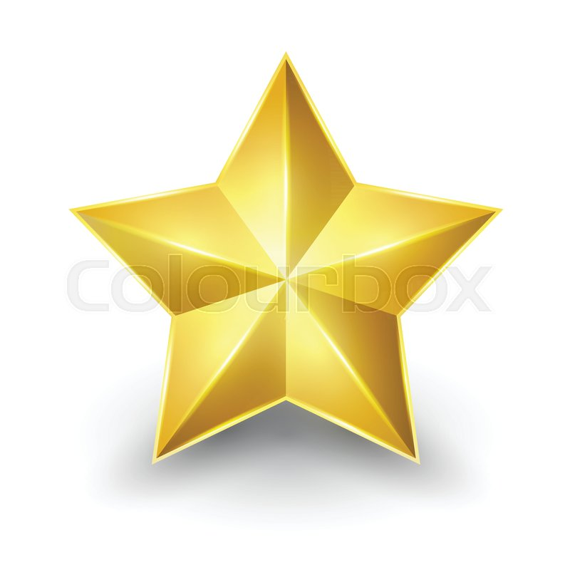 Shiny Gold Star Form Of First Vector Illustration For Design On
