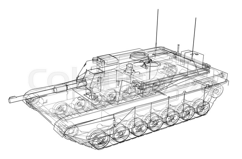 Blueprint Of Realistic Tank Vector Eps10 Format Rendering Of 3d
