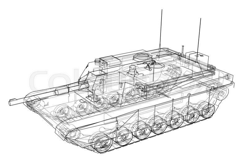 Blueprint Of Realistic Tank Vector Eps10 Format Rendering Of 3d